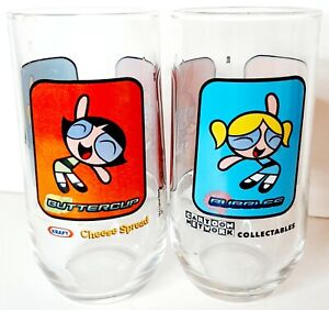 Powerpuff Girls Kraft Cheese Spread Limited edition drinking Glasses lot of Two
