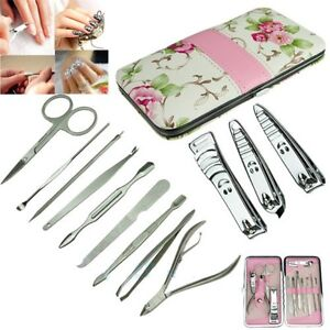 12Pcs Pedicure Manicure Set Nail Cuticle Clippers Cleaner Grooming Kit Tool Case