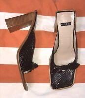 Vintage MARE Womens BLACK Real Leather Peep Toe Heel Mules Size 38.5 US 8