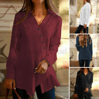 Women Long Sleeve V Neck Buttons Tops Ladies Casual Loose Tunic Shirt Tee Blouse