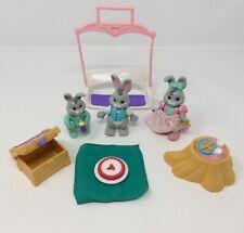 Fisher Price Hideaway Bunny Family Figures Swing Stump Bench Pie 1996 Vintage