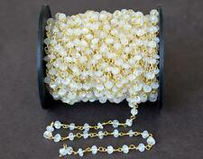VERMAIL - SOLID 925 SILVER LINK CHAIN - 1 FOOT - RAINBOW MOONSTONE BEADS #D5779