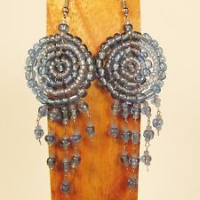 "2 1/2"" LONG Lt Denim Blue Handmade Dreamcatcher Style Dangle Seed Bead Earring"