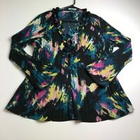 East 5th Women's Long Sleeve Blouse Top 1X Plus Multicolor Floral Ruffle Sheer