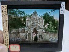 Colored Glass Magic Lantern Slide AIQ Cambodia Angkor Buddhist Victory GATE!