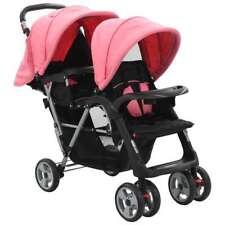 vidaXL Kinderwagen Dubbel Staal Roze en Zwart Wandelwagen Buggy Kinderwagens