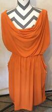 2X Sexy Diva Women's Orange Knee Length Dress Pockets Slouch Neck Sleeveless