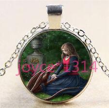 Vintage Celtic Dragon Cabochon Tibetan silver Glass Chain Pendant Necklace #6242