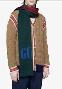 GUCCI GREEN RED & BLUE LOGO WOOL SILK 35x180 cms. WRAP SCARF UNISEX (B9)