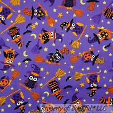 BonEful Fabric Cotton Quilt Purple Orange Black Bat OWL Moon Star Hat Girl SCRAP