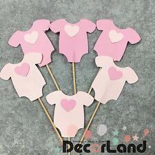 6Pcs Babysuit Cupcake Toppers Food Pick Girl Baby Shower One-year birthday Party