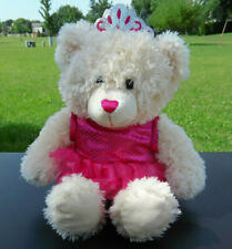 "18"" DanDee Princess Ballerina Cream Teddy Bear Plush Crown Pink Dress"