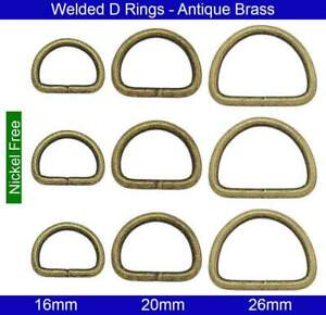 Welded D Rings - 16mm, 20mm, 26mm - Antique Brass - Nickel Free