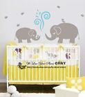 Cute Elephant Wall Sticker Vinyl Decal Kid Nursery Baby Decor Personalised Name