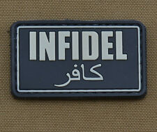 """PVC / Rubber Patch """"Infidel"""" Black with VELCRO® brand hook"""