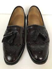Johnston & Murphy Optima Sz 8 Tassel Wing Tip Loafers Shoes Mens Burgundy