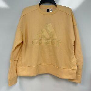 Adidas Womens Glow Orange Glam-Logo Crew Neck Pullover Sweatshirt Size M $60