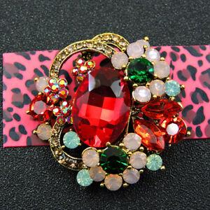 Shiny Red Crystal Flower Charm Rhinestone Betsey Johnson Brooch Pin Gift