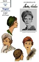 Vogue # 9619 Sally Victor BERET Hat Cap Fabric Sewing Pattern Chemo Alopecia 22""