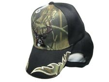 Deer Buck Head Antlers Hunter Camo Bill Black Main Embroidered Cap CAP902E Hat