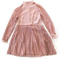 Bagira Size 8 Nude Beige Long Sleeve Pleated Front A-Line Party Dress Women's