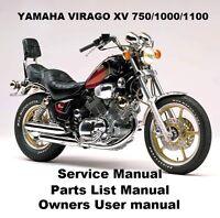 YAMAHA VIRAGO XV 750 1100 - Owners Workshop Service Repair Parts Manual PDF CD-R