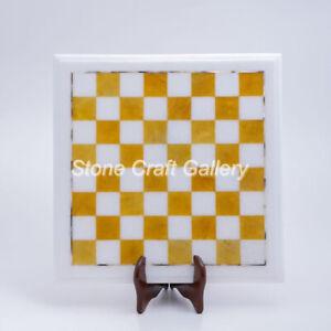 "12"" Marble Chess Top Semi Precious stones Handmade Home decor And Gift"