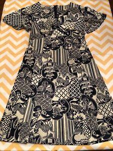 Vintage Jonathan Logan Dress Size 9 Hochschild Kohn Blue White Print Petite WOW