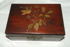 Antique Victorian Mahogany Floral Etched & Blue Satin Lined Jewelry Trinket Box