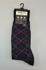 ALFANI Alfatech Black & Burgundy Red Ornate Argyle Dress Socks NEW 7-12