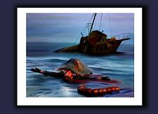 JAWS 40th Anniv. Signed Art Print - Great White Shark & Orca & Quint Painting