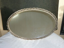 Vintage Oval Gold Tone Mirror Dresser Tray 14 Inches X 21 Inches