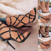 Women's Elegant Zipper Open Toe High Heel Sandals Causal Stilettos Party Shoes