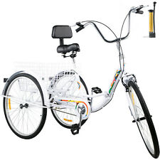 Foldable Tricycle Adult 24'' Wheels Tricycle 1-Speed 3 Wheel Bikes For Shopping