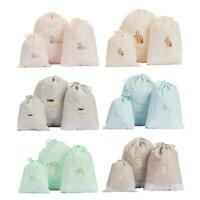 3PCS Waterproof Storage Bags Travel Home Drawstring Bag Clothes Organizer Pouch