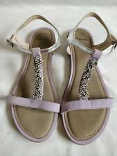 CLARKS LILAC Silver embellished LEATHER SANDALS Size 6 39  New