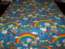Vtg JC PENNEY PEANUTS SNOOPY'S MARATHON BEDSPREAD & 2 PILLOW SHAMS Great Color