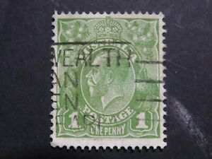 Variety on KGV 1d Green C of A WMK - White Flaw Under Right Value Tablet