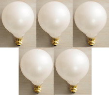 """Pearl White Christmas 2"""" Round (G50) Globe Replacement Bulbs - Set 5"""