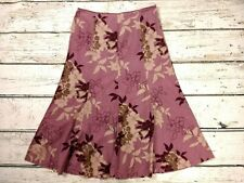 Retro Monsoon Fit & Flare Needle Cord Skirt Floral Purple Size UK 10