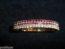 Rhinestone Genuine Crystal Stretchy Bracelet Gold Tone Red Purple 3 Layer NWOT