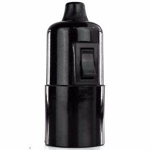 Glattmantel Bakelit Fassung mit Schalter, Lampenfassung E27, mit Klemmnippel