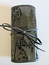 U Spicy Makeup Brush Holder Travel Case Black Faux Leather Crock 34 Pockets
