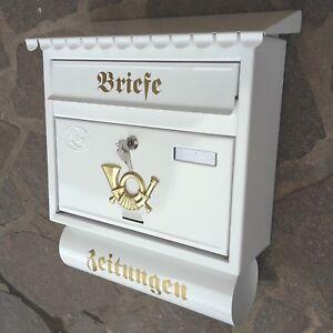 Großer Briefkasten / Postkasten in Weiß + Zeitungsfach Katalogeinwurf Nostalgie