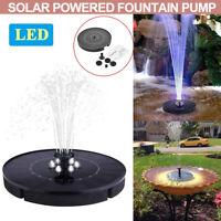 LED Light Solar Powered Floating Pump Water Fountain Garden Birdbath Pool