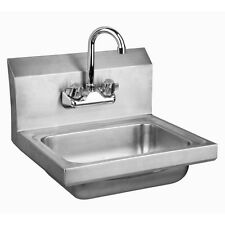 """Stainless Steel Wall-Mount Hand Sink 9"""" x 9"""" Bowl with Faucet NSF Certified"""