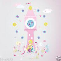 Disney Princess Wall Clocks & 50 Stickers Glow In The Dark Wall Room Decor