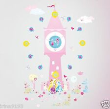 Disney Princess Wall Clocks & 50 Stickers Glow In The Dark Wall Room Decor