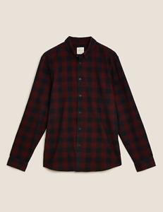 M&S Marks Spencer Men Regular Fit Corduroy Cord Check Shirt Red/Black BNWT