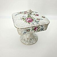 Dresden Rose Covered Pedestal Candy Dish EW9/389 Gold Gilded Norcrest China Lid